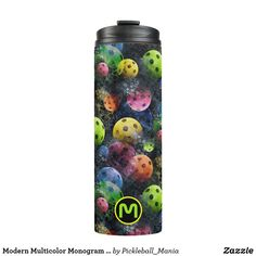 Modern Multicolor Monogram Pickleball Thermal Tumbler