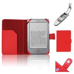 """Xtra-Funky Exclusive PU Leather Book Wallet Folio Style Case For Amazon Kindle 4 (Black or Silver 6"""" E-ink Display No keyboard Model) with Clip on Robotic Folding Light - Red Xtra-Funky"""