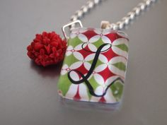 Personalized Glass Tile Pendant with flower cabochon, resin flower, red and green, Monogram  Necklace handmade  by tlgcrafts on Etsy. $14.95, via Etsy.
