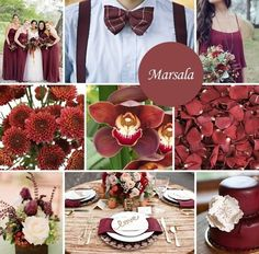 Pantone introduced the Color of the Year for And it is Marsala! Marsala can be described as a deep red wine or a red-brown color. It is earthy, sophisticated, and almost sensual. Pantone Colors 2015, Pantone 2015, Fall Wedding Colors, Wedding Color Schemes, Wedding Flowers, Wedding Dresses, Bridesmaid Dresses Marsala, 2015 Color Trends, Wedding 2015