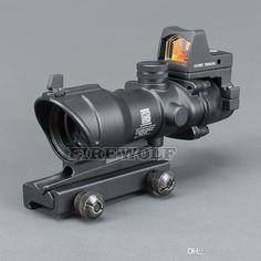 Trijicon ACOG Style Scope with Docter Mini Red Dot Light Sensor Black for Hunting Tactical Scopes, Tactical Rifles, Firearms, Ar Rifle, Rifle Scope, Red Dot Optics, Tac Gear, Airsoft Guns, Light Sensor