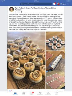 My Recipes, Snack Recipes, Mini Cinnamon Rolls, A Food, Food And Drink, Pie In The Sky, Potato Pancakes, Sausage Rolls, Cooking Appliances
