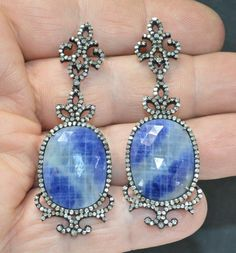 Victorian 45.16ctw Genuine Rose Cut Diamond & AAA Sapphire Dangle Earrings #DropDangle