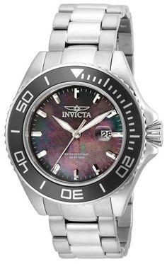 Invicta Men's Pro Diver Steel Band Black Dial