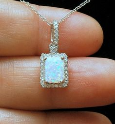 Emerald Cut White Opal Necklace, CZ Diamond Necklace, Silver Opal Jewelry, October Birthstone Necklace, Ayansiweddingdesigns Beautiful dainty opal necklace. Made with solid 925 sterling silver that has a 14k white gold rhodium with an opal stone that measures 1/2 with diamond cz