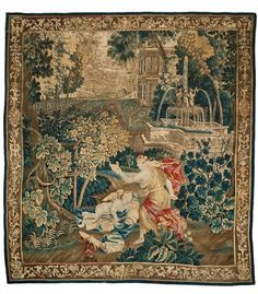 Psyche und der schlafende Amor Wirkerei in Wolle und Seide, überwiegend in grüner Polychromie mit