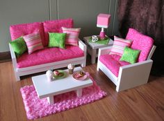 "american girl doll furniture | 18"" Doll Furniture - American Girl sized Living Room - Loveseat ..."