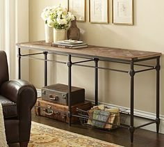 "Parquet Console Table #potterybarn (70.75"" wide x 19.75"" deep x 33.5"" high) $999 I like the look of this and how open it is, but it's too big for the space."