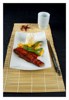 Teriyaki and honeymarinated salmon