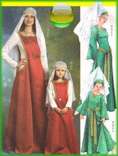 Misses Medieval Dress/Gown Hat & Veil Patterns