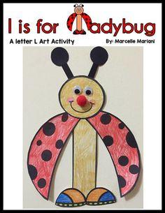 Letter L Art Activity- l is for ladybug art activity Letter D Crafts, Letter L, Alphabet Activities, Art Activities, Ladybug Art, Kindergarten Themes, Letter Identification, Letter Of The Week, Art Template