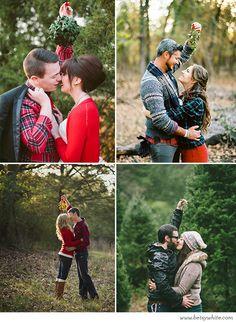 Holiday engagement photo inspiration: Mistletoe Christmas Kisses