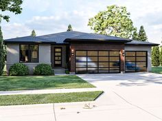 050H-0393: Contemprary House Plan; 2012 sf Prairie House, Prairie Style Houses, Contemporary House Plans, Modern House Plans, Modern Zen House, Modern Houses, Small Houses, Contemporary Architecture, Architecture Details