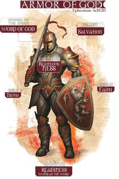 "Women as Prayer Warriors.putting on the ""whole armor of God"" / Ephesians / Truth . The Gospel of Peace . shield of Faith . helmet of Salavation . sword of the Holy Spirit (the Word of God) Christian Warrior, Christian Life, Warrior Quotes, Prayer Warrior, Medieval Knight Armor, Saint Esprit, Ephesians 6, Templer, Bible Knowledge"