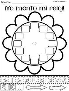 Yo monto mi reloj - Spanish build a clock. Clock Worksheets, Fun Math Worksheets, Spanish Worksheets, Spanish Teaching Resources, Math Anchor Charts, Teaching Time, Class Activities, 2nd Grade Math, How To Speak Spanish