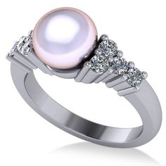 0442a25c370 Pearl   Diamond Accented Engagement Ring 14k White Gold 8mm (0.40ct)