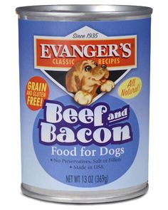 Evanger's Grain Free Canned Food - Bulldog and picky eater approved!!  The Beef and Bacon flavor has become the number 1 favorite wet food at our home!  Available at EarthWise Pet Supply Wichita.
