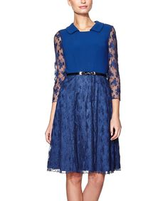 Another great find on #zulily! Dark Blue Lace Merida Three-Quarter Sleeve Dress by Paphia #zulilyfinds