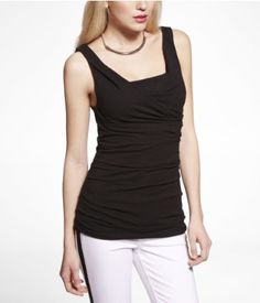 RUCHED COWL SHELL TOP | Express