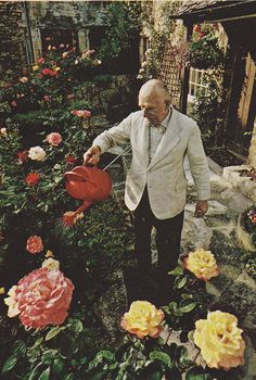 man and his flowers