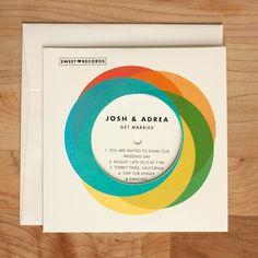 record with sleeve - wedding invite