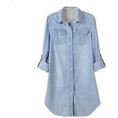 Retro vintage Women Long Sleeve Casual Blue Jean Denim Shirt Tops... ($9.43) via Polyvore featuring tops, blouses, vintage blouse, blue shirt, shirts & blouses, long sleeve blouse and denim shirt