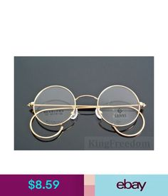 031209c260 Eyeglass Cases Vintage Round Gold Wire Rim Eyeglass Frame Spectacles  Glasses Rx Able 42Mm  ebay