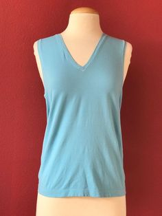 WOLFORD Cotton Velevt Light  Blue Tank Top Size L Made In Austria #Wolford #TankCami #Casual