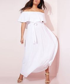 5e6f00ff212 Take a look at this White Love You Better Ruffle Off-Shoulder Maxi Dress -  Women   Plus today!