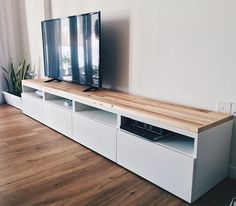 Ikea Besta TV console hack using reclaimed pallet wood. Handcrafted in Singapore… Ikea Besta TV console hack using reclaimed pallet wood. Handcrafted in Singapore… - Mobilier de Salon Console Tv, Ikea Media Console, Ikea Entertainment Units, Home Entertainment Centers, Entertainment Products, Design Living Room, Living Room Tv, Tv Furniture, Furniture Design