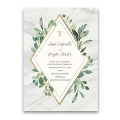 Marble Wedding Invitations Greenery Eucalyptus Gold Accents. Gorgeous greenery eucalyptus wedding invitation suite with a gold geometric diamond accent