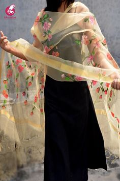 Rs 1199, Buy this Cream Organza Floral Stole by Corauction from www.colorauction.com #handpainted #multicolor #stole #floral #organza #womenfashion #colorauction