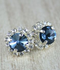 Blue crystal earrings Denim blue Rivoli Crystal