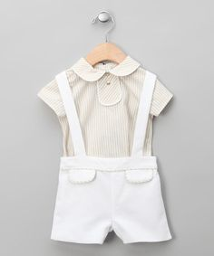 Take a look at this Beige Cavort Top & Suspender Shorts - Infant & Toddler by dudu on #zulily today!
