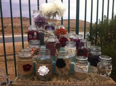 FALL WEDDING DECOR/Fall Rustic Cottage Decor : Rustic Wedding Centerpieces or Head Table decorations Burlap and Lace Jars. $21.00, via Etsy.
