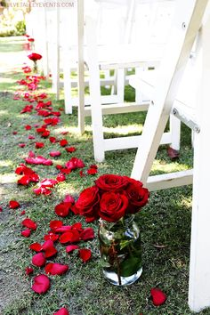 Red roses down the aisle #velvetalleyevents