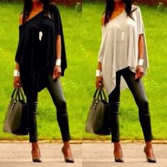 2015 Sexy Women Summer Short Sleeve Loose Tops T-Shirt Casual Tee Shirt BlouseBuy stylish ladies women round neck loose short sleeve irregular t shirt tops from newdress,enjoy discount shopping and fast delivery now.It's Asian size,please check the d Off Shoulder T Shirt, Shoulder Tops, Loose Tops, Loose Fit, Women's Summer Fashion, Diy Clothes, Shirt Blouses, Cotton Blouses, Mantel