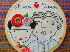 Embroidery Hoop Art, Hand Embroidery Patterns, Cross Stitch Embroidery, Cross Stitch Patterns, Embroidery Designs, Frida And Diego, Frida Art, Needlepoint, Needlework