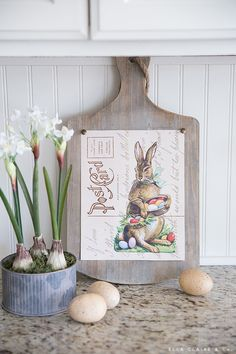Free Printable Easter Bunny Postcard Art - Ella Claire & Co.