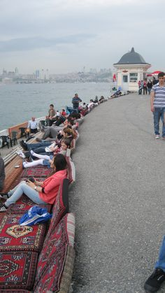 Drinking tea in Uskudar - Semshi Pasha Near Maiden's tower, Istanbul.