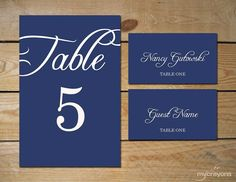 Rustic Script Editable Place Cards and Table Number Template by MyCrayonsPapeterie // DIY Wedding, Navy and White Wedding, Navy Wedding