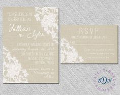 Shabby Chic Lace Wedding Invitation  Rustic by BaileyHallDesigns, $2.85