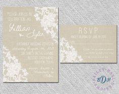 Shabby Chic Lace Wedding Invitation  Rustic by BaileyHallDesigns, $2.85