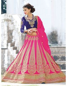 Pink Georgette Lehenga Choli with Resham Embroidery Work