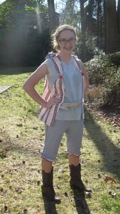 Smee - vest made from tootsie roll wrappers hot glued on to white fabric.
