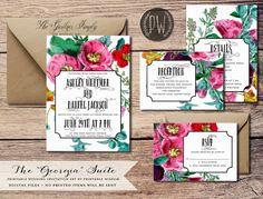Printable Wedding Invitation Suite floral illustration summer wedding invite vintage flowers rustic wedding invitation card invitation set on Etsy, $50.99 AUD