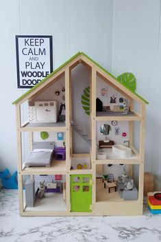 A large three-story modern doll house. Wooden Dollhouse, Diy Dollhouse, Creative Play, Creative Gifts, Doll Furniture, Dollhouse Furniture, Doll House Plans, Toddler Gifts, Toddler Toys
