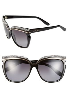 90dd5cadb70 A crystalencrusted browline lends scenestealing glamour to Italiancrafted  sunglasses featuring gradient lenses and polished logo inlays at the lens  width ...