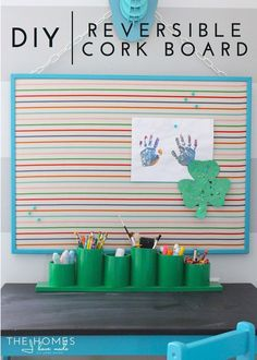 With a solid idea and some perseverance, my cork board project (which I was almost certain was going to fail) actually worked out. Curious? Have a peek at our new playroom brag board! Diy Craft Projects, Diy Crafts, Project Yourself, Craft Items, Organization Hacks, Getting Organized, Slipcovers, Cork, Homeschool