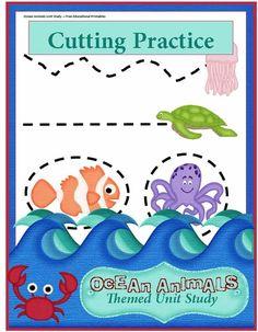Ocean Animals Unit Study: Preschool Cutting Practice
